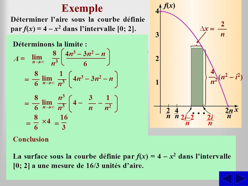 Exemple Déterminer l'aire sous la courbe définie par f(x) = 4 – x2 dans l'intervalle [0; 2]. ∆x. =